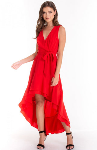 Red Waterfall Hem Dress