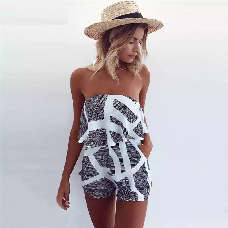 Strapless Stripe Playsuit