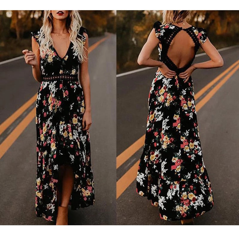 Boho Floral V Neck Backless Dress