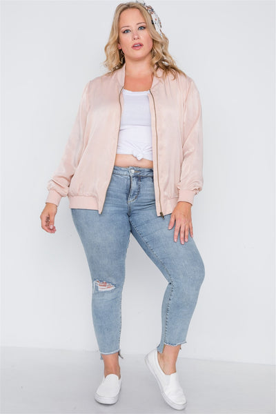 Plus Size Pink Maple Sugar Light Bomber Jacket