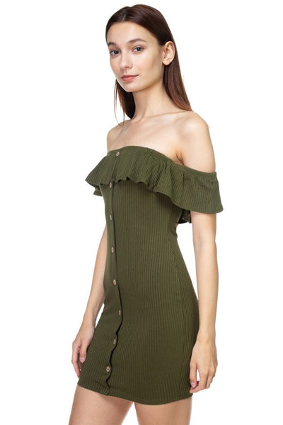 Off Shoulder Ribbed Mini Dress