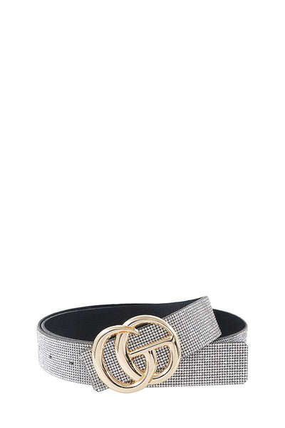 Chic Rhinestone And Letter Buckle Accented Belt