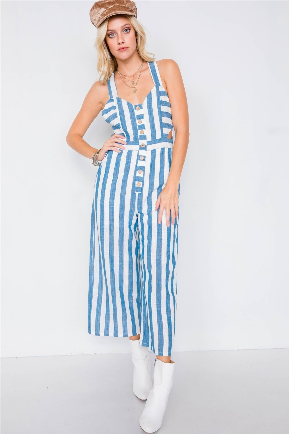 Blue Linen Stripe Button Down Wood Ring Jumpsuit
