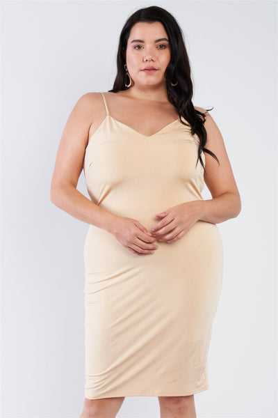 Plus Size V-neck Solid Cami Satin Mini Dress