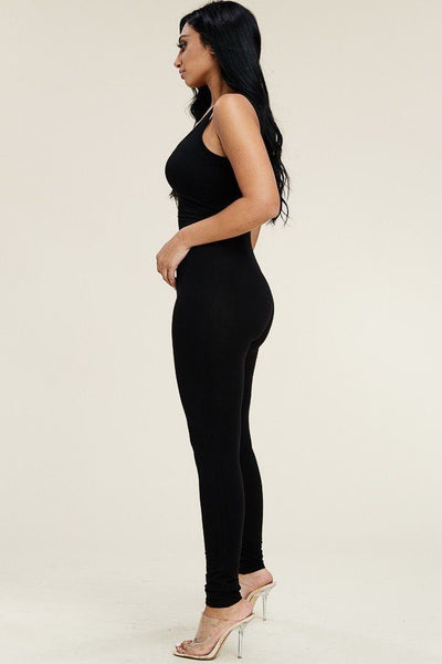 Solid Cotton Basic Jumpsuit With U Back Line