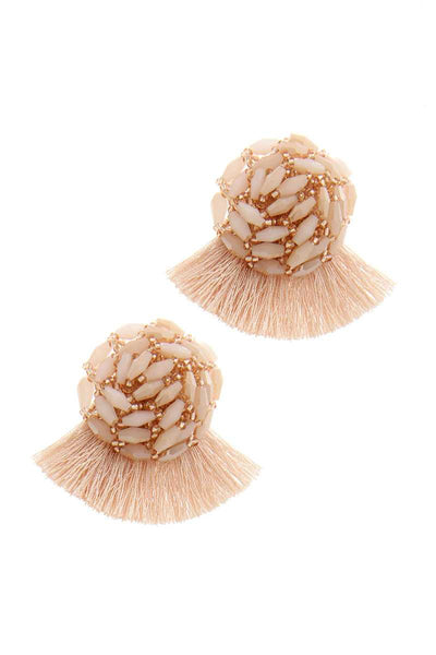 Pearl Cluster Tassel Post Drop Earring