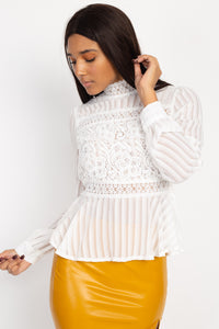 Shadow Stripe Embroidered Blouse