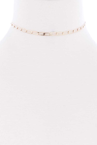 Metal Chain Link Choker Necklace