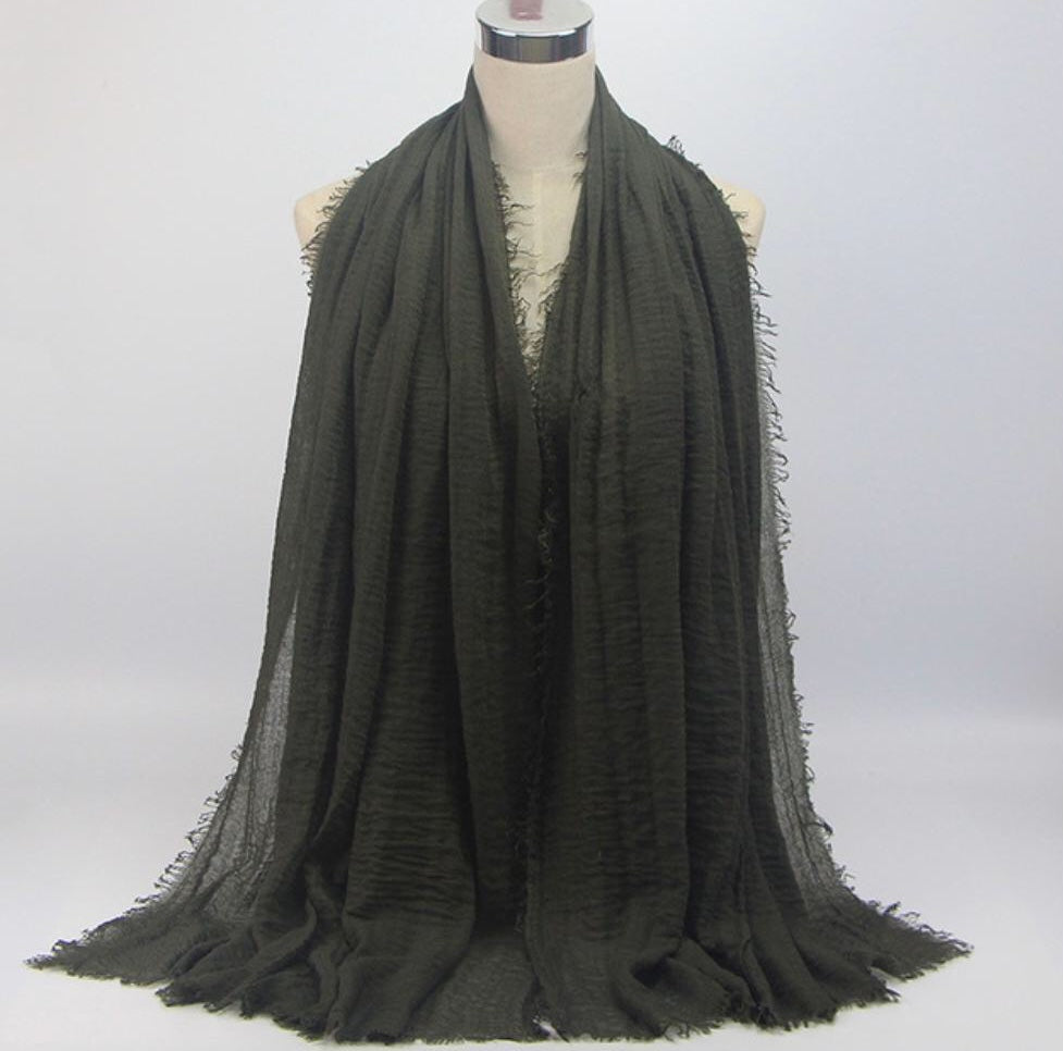 Army Green Cotton Crinkle Hijab