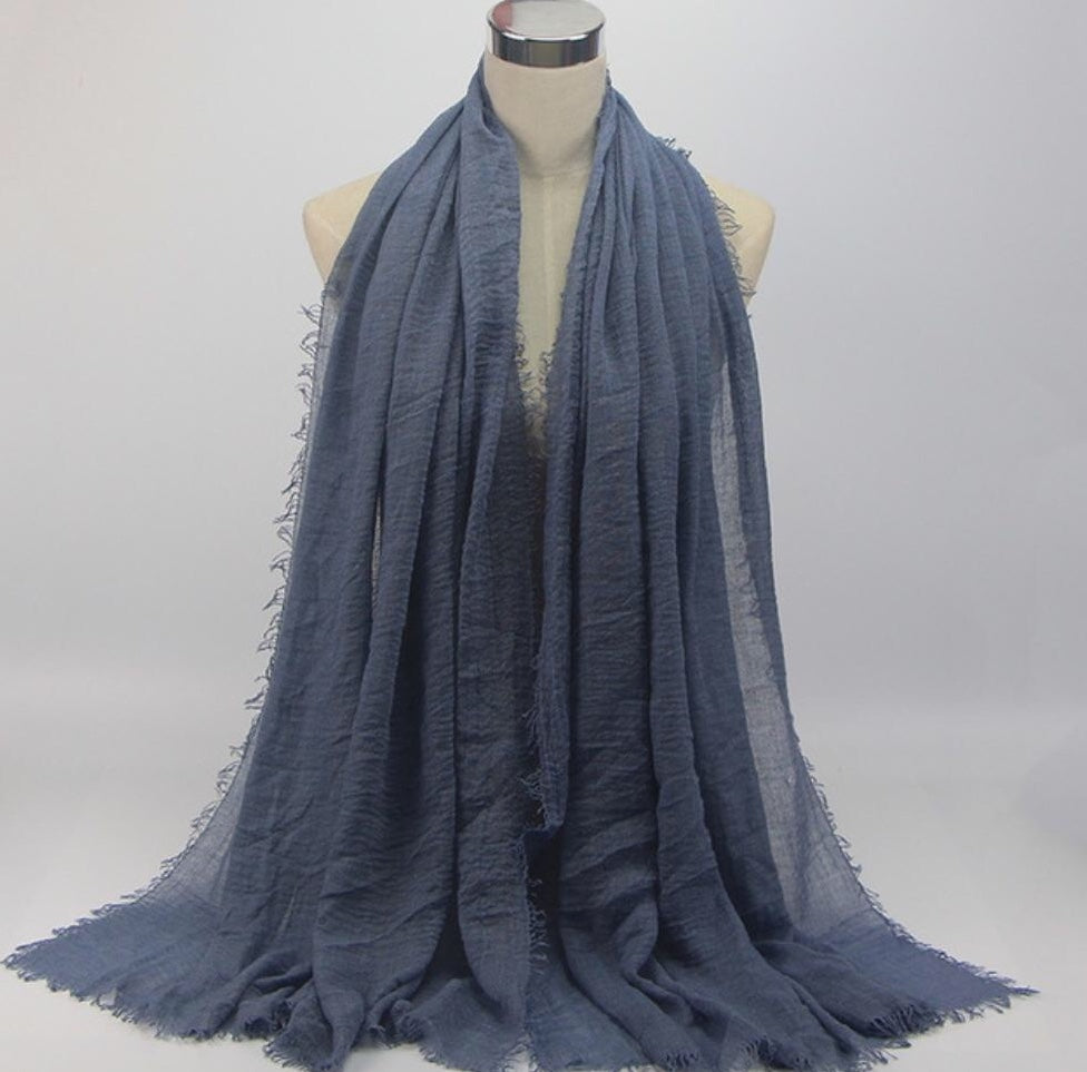 Grey/Blue Cotton Crinkle Hijab