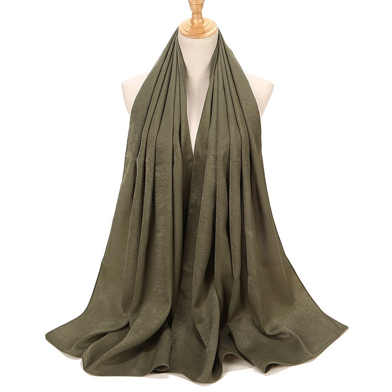 Olive Green Sateen Hijab