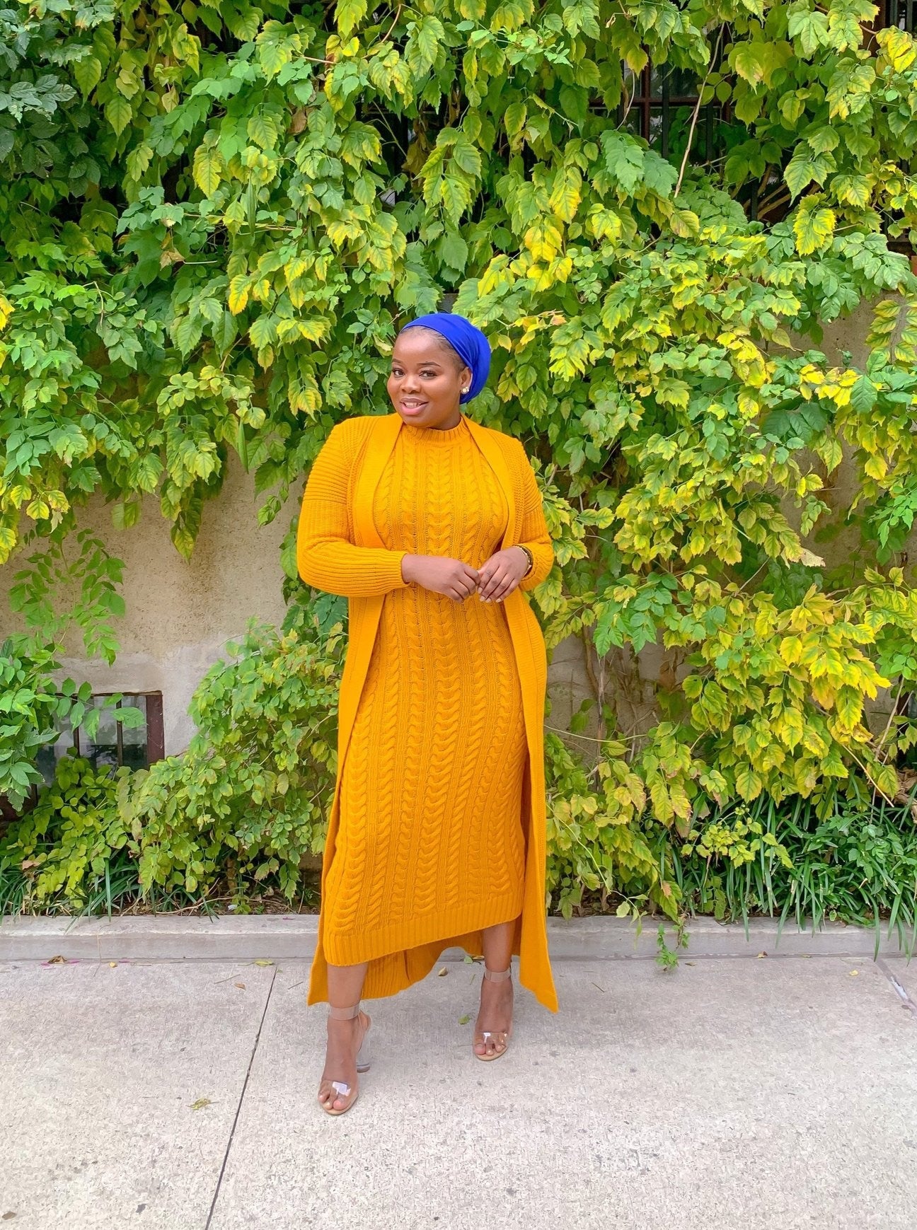 Mustard Two Piece Knitted Set