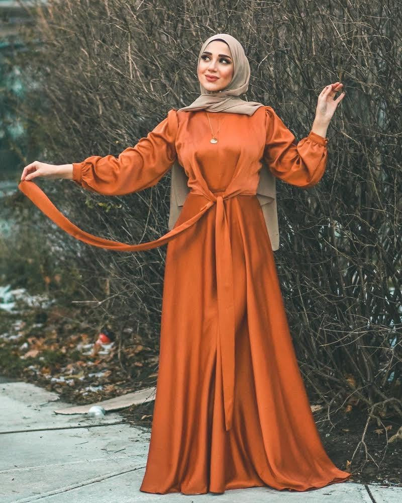 Maysa Satin Dress in Copper