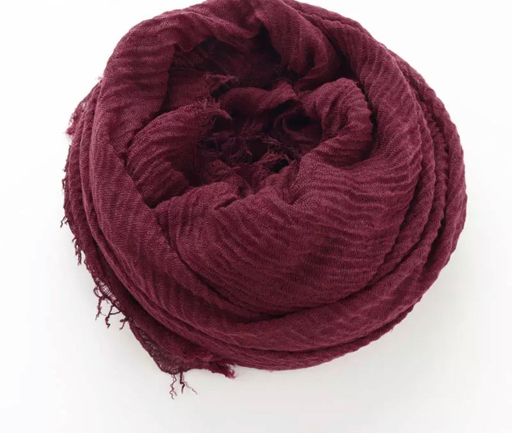 Burgundy Cotton Crinkle Hijab