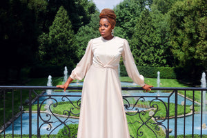 Maysa Satin Dress in Ivory