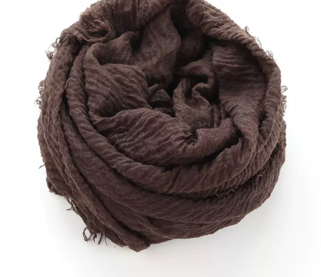 Dark Brown Cotton Crinkle Hijab
