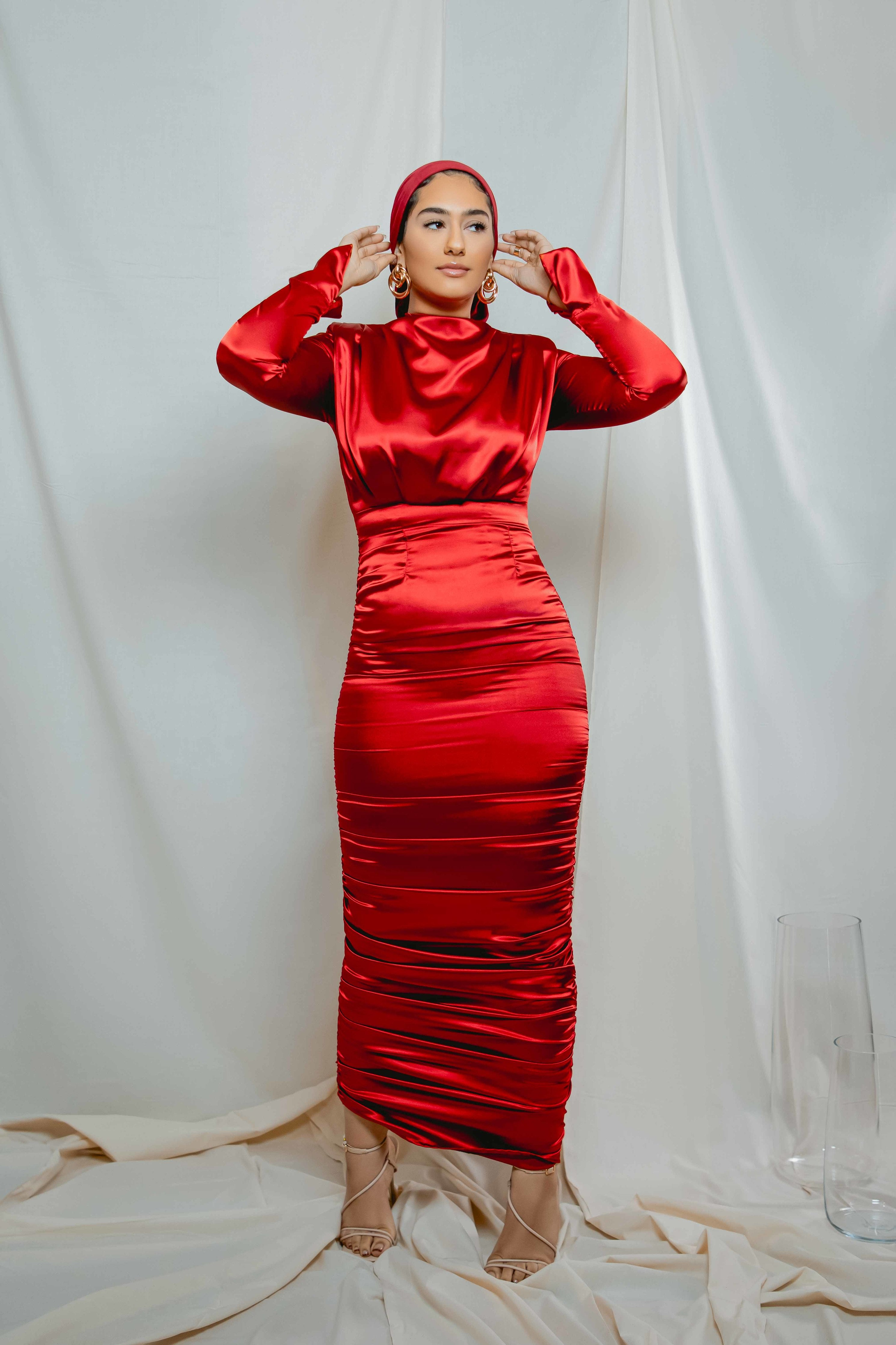 Kamala Side Ruched Dress in Red