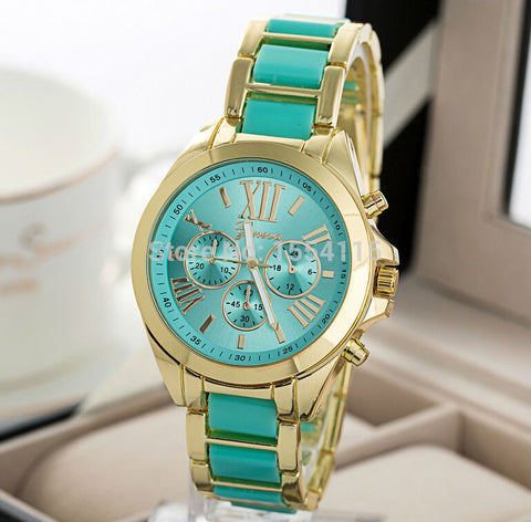 Hot Sale GENEVA 5 Colors Roman Numerals Dial Women Wristwatches Fashion Full Steel Casual Lady Dress Quartz Bracelet Watches