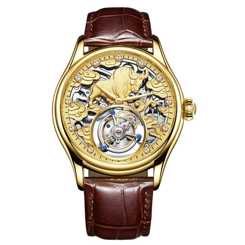 Top Mechanical Watch Men's Precious Stone Inlaid Cow Waterproof Male Analog Clock Fashion Sapphire Mirror Men Mechanical Watches