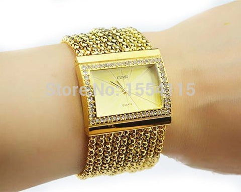 Fashion Classic Quartz Women Gold Silver Crystal Rhinestone Alloy Bracelet Watch Lady's Bracelet watch Wholesale