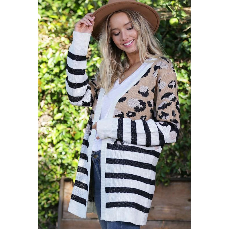 Striped Leopard Cardigan
