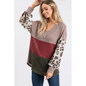 Striped Waffle Top With Leopard Sleeve