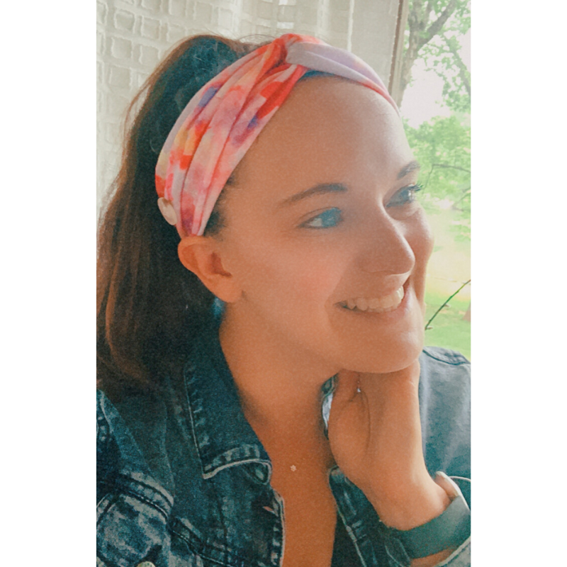 Pink Tie Dye Button Headband of Hope