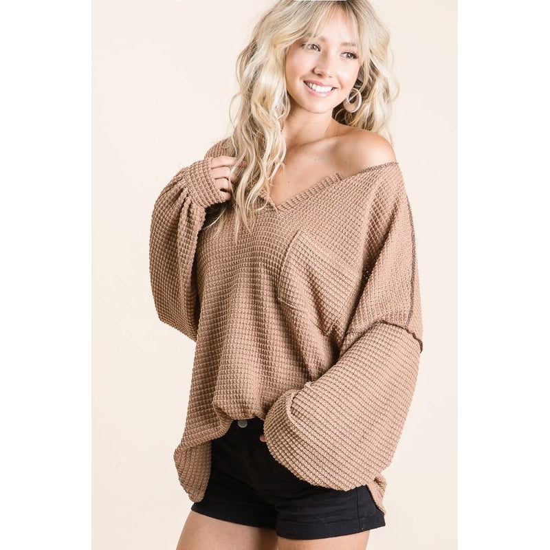 Taupe Waffle Pocket Top