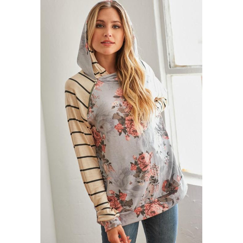 Floral & Striped Hoodie-[option4]-Trendy-Womens-Clothing-Store-Shop-The Beauty Alley Boutique Inc