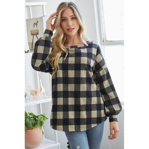 Taupe Plaid Open Back Top