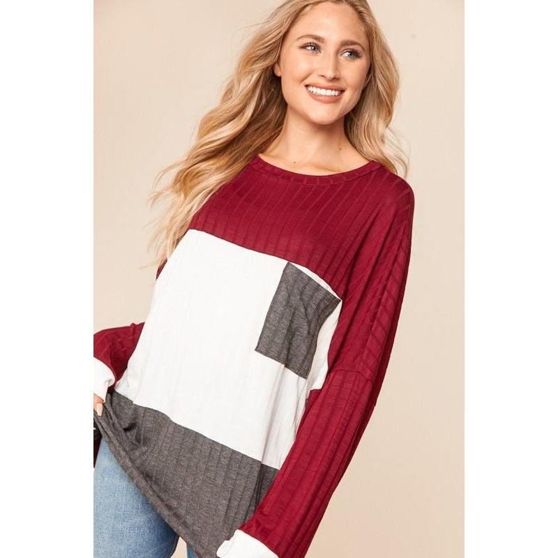 Ribbed Color Block Top