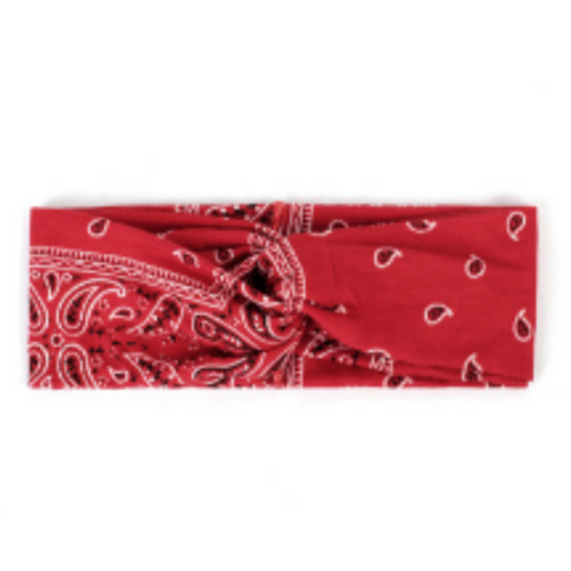 Red Paisley Button (Headband of Hope)