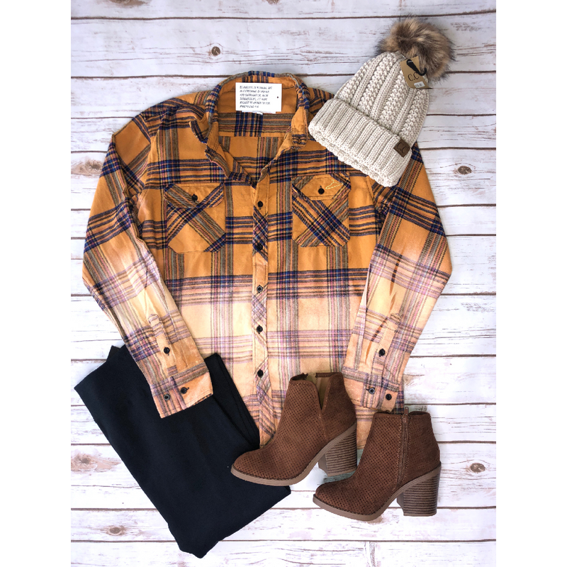 Mustard & Navy Bleach Flannel