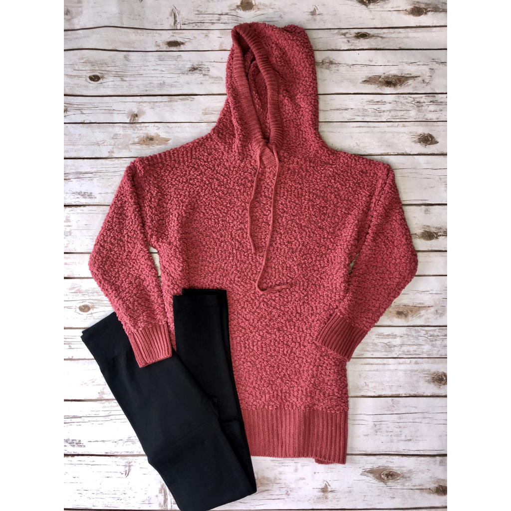 Rose Hooded Popcorn Sweater