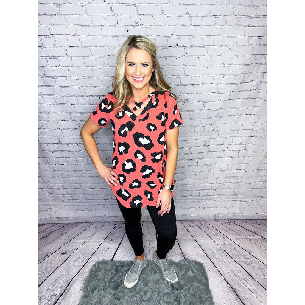 Coral Animal Print Top-[option4]-Trendy-Womens-Clothing-Store-Shop-The Beauty Alley Boutique Inc