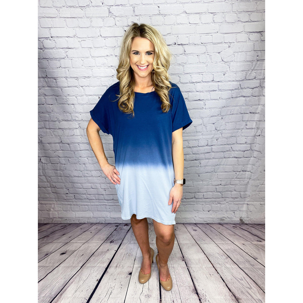 Navy Dip Dye Dress-[option4]-Trendy-Womens-Clothing-Store-Shop-The Beauty Alley Boutique Inc