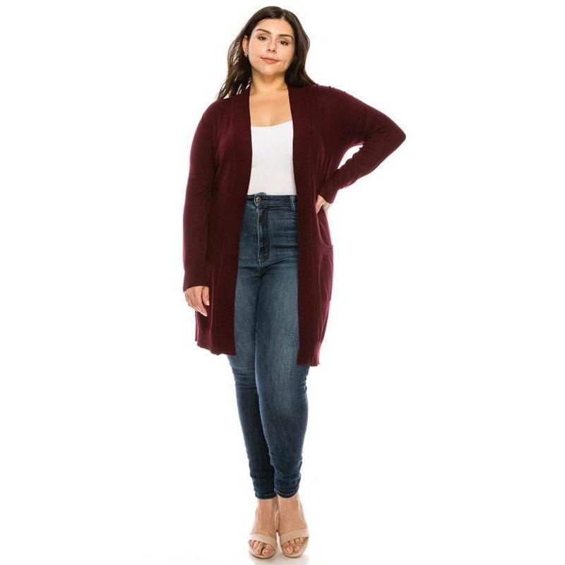 Burgundy Plus Cardigan