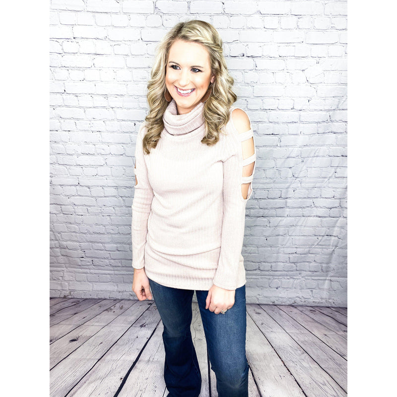 Blush Cutout Cowl Neck Top-[option4]-Trendy-Womens-Clothing-Store-Shop-The Beauty Alley Boutique Inc
