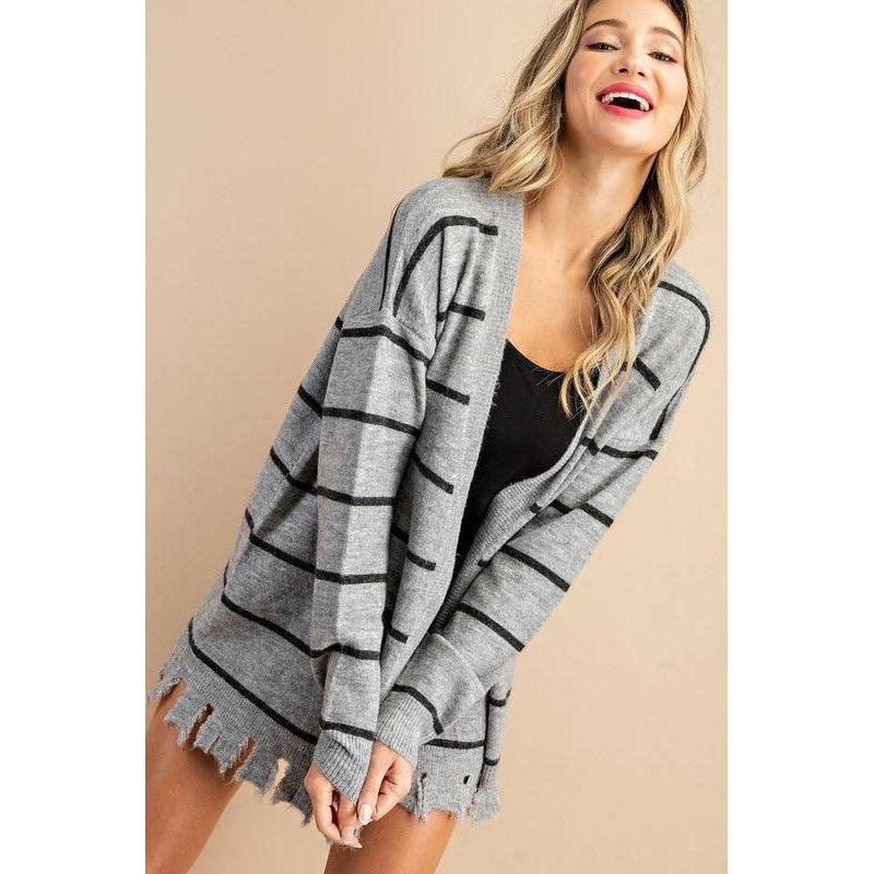 Distressed Striped Cardigan