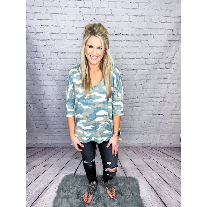 Sage Camo V-Neck Top-[option4]-Trendy-Womens-Clothing-Store-Shop-The Beauty Alley Boutique Inc