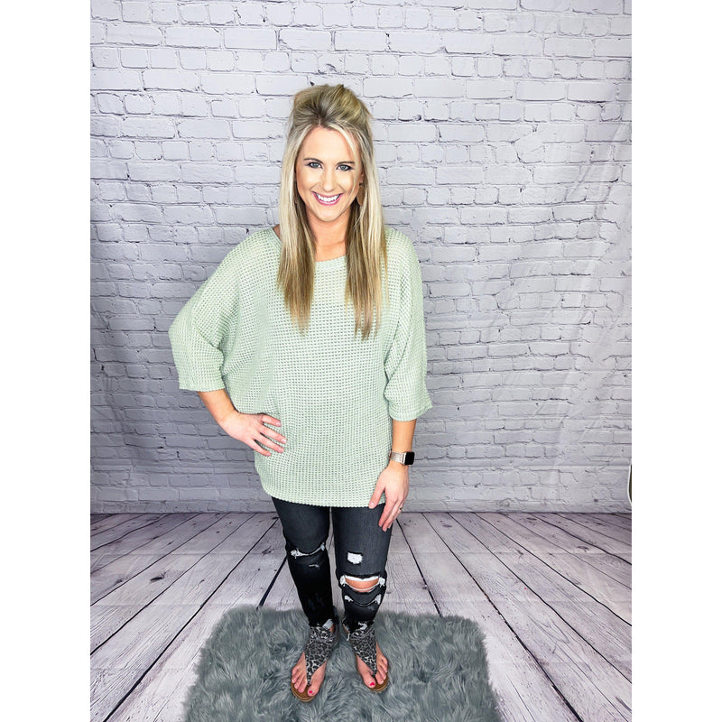 Sage Waffle Knit Dolman Sleeve Top-[option4]-Trendy-Womens-Clothing-Store-Shop-The Beauty Alley Boutique Inc