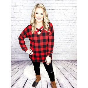 Red Plaid Criss Cross Top