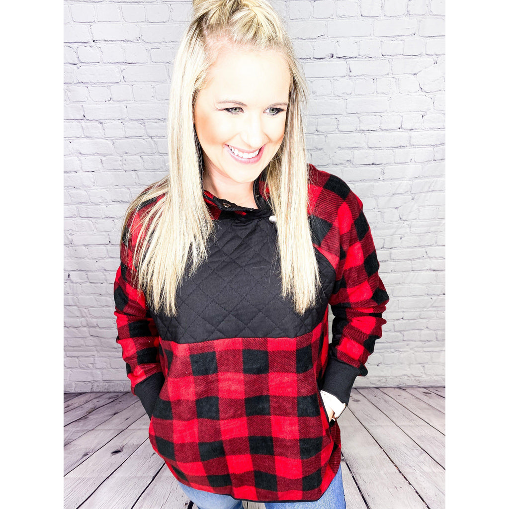 Quilted Plaid Fleece Pullover-[option4]-Trendy-Womens-Clothing-Store-Shop-The Beauty Alley Boutique Inc