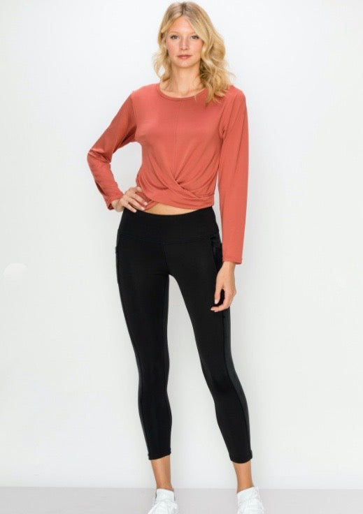 Long Sleeve Cropped Twist Top- Redwood - Axcess Athletics