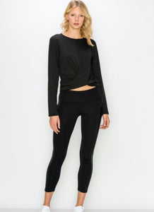 Long Sleeve Cropped Twist Top- Black - Axcess Athletics