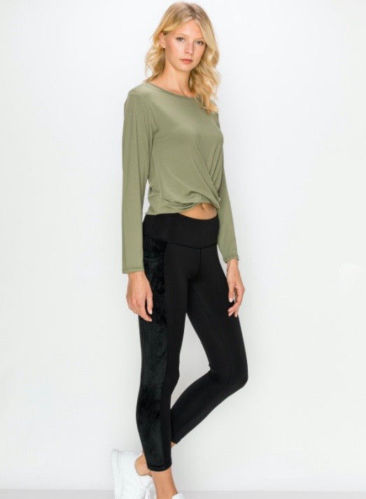 Long Sleeve Cropped Twist Top- Olive - Axcess Athletics