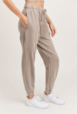 Mineral-Washed Ribbed Billow Cuffed Joggers - Mushroom