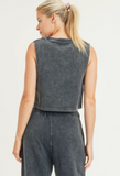 Mineral-Washed Ribbed Boxy Cropped Muscle Tank - Black