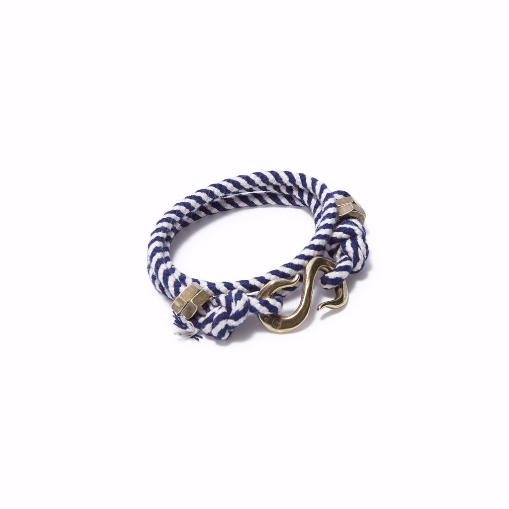 Rope S Hook Bracelet White & Navy