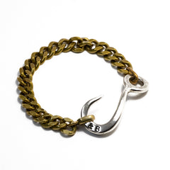 Antique Brass with Silver Ox Hook ID Chain Bracelet